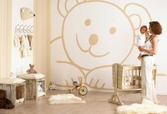 Cool Baby Boy Bedroom Ideas | Lots of pink hearts dancing on the wall. An unusual design for wall ...