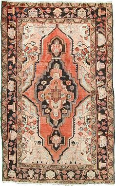 Rust Red Hamedan Area Rug:
