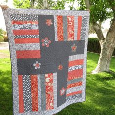 Hey, I found this really awesome Etsy listing at https://www.etsy.com/listing/189865904/coral-and-gray-modern-quilt-with