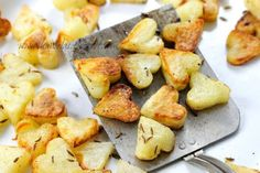 Cut out heart-shaped potatoes for roasting.