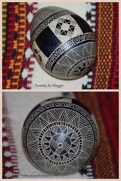 Black and White Turkey Pysanka by www.pysankybasics.com