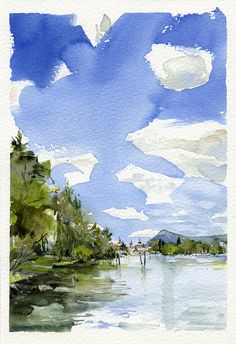 Annecy ( Haute Savoie, french alps) Lake view on a wonderful summer. Watercolor on heavy paper, 19 x 28 cm - Mauro Pietro Gandini