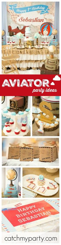 Take to the skies with this Vintage Aviator inspired 1st birthday party for a little boy! You'll love the backdrop and dessert table! See more party ideas at http://CatchMyParty.com