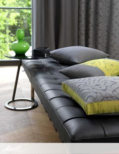 Alendel Fabrics de Novo Collection   Patterns Baxter, Emily & Walton in colours Charcoal and Moss Sofa, Couch, Charcoal Color, Drapery Fabric, Fabrics, Colours, Patterns, Furniture