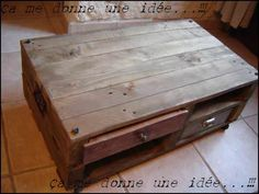 """Nice Table Basse En Palette / Pallet Coffee Table  #livingroom #pallettable #recyclingwoodpallets I built this coffee table from two small colored pallets """"oak aged"""" and customized with spikes, two recycled handles, customized wine crates, an old d..."""