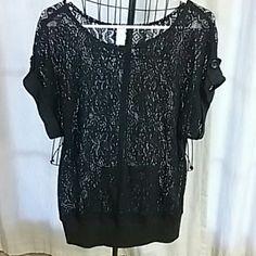 Black Lace Top Adorable black lace top button detail on sleeves and kangaroo pocket Size Large true to size! No Boundaries Tops