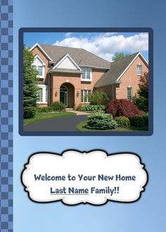 Welcome to your new Home! Great card for Realtors to send to their clients. Add a photo of your client's home on the inside panel. Send a card for $1.98 when sharing from Sendcere.com