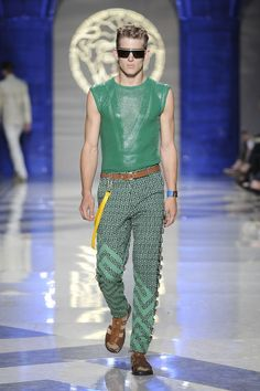Versace Men's Spring Summer 2012 - Green top and printed trousers #versace #men #ss12 #versace #fashion #look #green