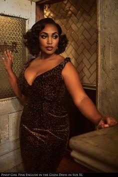 Laura Byrnes California - The Laura Byrnes Gilda Dress in Leopard Velvet - Plus Size | Pinup Girl Clothing