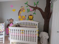 Project Nursery - Girl Gray and Pink Animal Nursery Crib