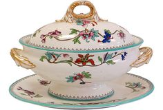 Hand-enameled porcelain sauce tureen with under plate, manufactured by Royal Worcester. Handles have gilded acanthus leaves. 19th-century Royal Worcester mark on the base of each piece and inside the lid.
