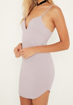 Missguided - Lilac Strappy Plunge Bodycon Dress