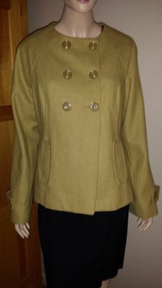 Mossimo key lime colored wool double breasted woman's jacket size L 1950's style