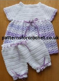 FREE Baby Crochet Pattern from http://www.patternsforcrochet.co.uk/angel-top-pants-usa.html for a pretty Angel Top & Pants Outfit.