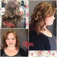 Highlighted this girls hair, she had boxed color red and wanted rose gold highlights. The. Went in and applied the wella clear gloss color #wellacolor#wella