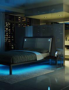 Amisco - Furniture - Bedroom - Lounge Platform Bed - Recessed LED lights - LED Strip Lights - Light Blue Color Variation - Recto Plato Table