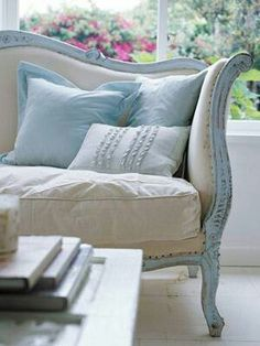 Painted Furniture Idea Box by Laura Smith. Shabby Chic couch=love it. makes this style couch not look so stiff & formal. invites you right over to sit down. Cottage Living, Cottage Style, Living Room, White Cottage, French Cottage, Cottage Art, Rose Cottage, Cottage Chic, Style At Home