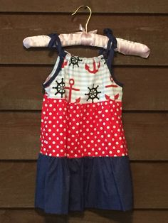 Navy and Red Polka Dot Anchor Girls Dress by SimplyStitchedbyMKM