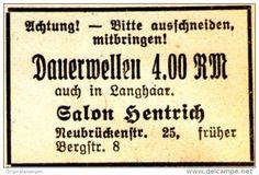 Original-Werbung/ Anzeige 1939 - DAUERWELLEN / SALON HENTRICH - MÜNSTER - ca. 45 x 30 mm