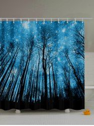 Forest Landscape Print Waterproof Mildewproof Shower Curtain - DEEP BLUE