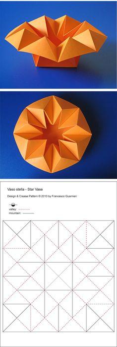Origami, CP: Vaso stella - Star Vase, from one uncut square of copy paper, 21 x 21 cm. Designed and folded by Francesco Guarnieri, April paper Origami Simple, Diy Origami, Origami Star Box, Origami Envelope, Origami And Kirigami, Useful Origami, Origami Shapes, Geometric Origami, Origami Box Tutorial