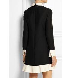 Two-tone wool and silk-blend crepe mini dress
