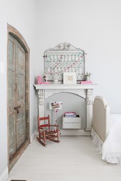 MMH-faux fireplace/mantle instead of just a shelf; love it