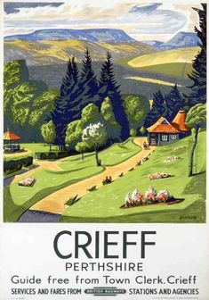 Crieff, Scotland, Perthshire, Vintage British Railways Travel Posters Print Lots of reasons to like this. Posters Uk, Train Posters, Railway Posters, Retro Poster, Poster Ads, Poster Prints, Art Prints, Crieff Scotland, British Railways