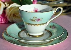 Sutherland Vintage Duck Egg Blue and Pink Fuschia Teacup Trio c.1947