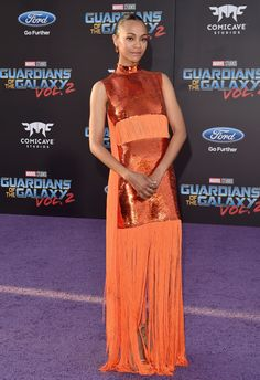 Zoe Saldana Guardians of the Galaxy Vol. 2. Red Carpet Interview Stylist Petra Flannery