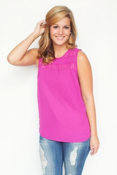 Shop here: http://amaranthcollection.com/collections/tops/products/fashion-week-top-bright-purple  #fashionweek #tanktop #brightpurple #transitional #sexy #chic