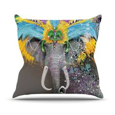 "Geordanna Cordero-Fields ""My Elephant with Headdress"" Gray Rainbow Throw Pillow"