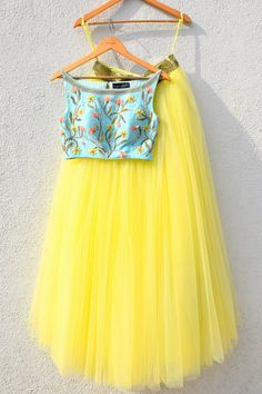 Yellow Flared Lehenga with Turquoise Blue Crop Top by Designer Anisha Shetty Lehenga Indien, Indian Designer Outfits, Indian Outfits, Designer Dresses, Casual Dresses, Fashion Dresses, Fashion Clothes, Trendy Fashion, Kid Outfits