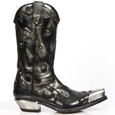 M7952P-C2 New Rock Black/Steel Grey Cowboy Boots w/ Metal Boot Tips