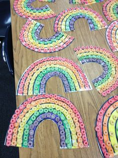 Rainbows w/Fruit Loops .... good for a St Patty's Day/Spring craft
