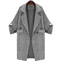 Yoins Yoins Lapel Collar Adjustable Sleeve Trench Coat ($25) ❤ liked on Polyvore featuring outerwear, coats, jackets, grey, trench coats, grey coat, collar coat, gray coat, long sleeve coat and lapel coat
