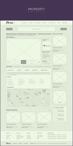 wireframe (Caza - Property Listing Website - Branding + Wires by Waseem Arshad, via Behance) Wireframe Web, Wireframe Design, Interface Design, Website Wireframe, Minimal Web Design, Web Ui Design, Design Design, Graphic Design, Layout Design