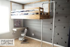 We built the ultimate boys bed! An industrial loft bed with a rock climbing wall and fireman's pole! It is so fun! And you can build one too! Boys Loft Beds, Bunk Beds Built In, Diy Climbing Wall, Rock Climbing, Industrial Loft Beds, Industrial Pipe, Do It Yourself Furniture, Murphy Bed Plans, Diy Bed