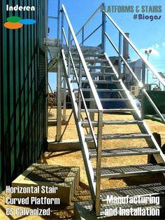 Plataforma horizontal con escalera en CS galvanizado con curva adaptada al digestor