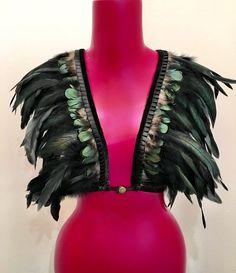 Love khaos super posh iridescent black and green feather bralette, rave bra, boho festival top, burning man lingerie