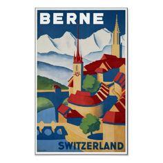 Poster de viagens do vintage, Berne, suiça por yesterdaysgirl