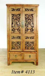 Chinese Hand Carved Lucky Animals  Cabinet.