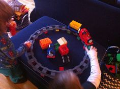 The Lego Duplo Thomas and friends goes so well with our battery-operated train. Go!