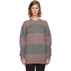 ACNE STUDIOS Pink & Grey Striped Albah Sweater. #acnestudios #cloth #