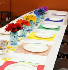 Hi Sugarplum | Rainbow Art Party -- colorful rainbow table
