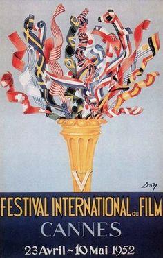 La 5ème édition du Festival de Cannes, en 1952 Auteur de l'affiche : Jean Don. Palme d'Or en 1952 : (ex-aequo) Othello d'Orson Welles et deux sous d'espoirde Renato Castellani