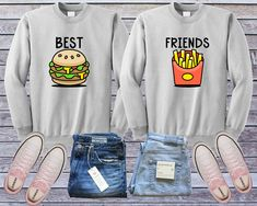 Having a hard time getting a token of appreciation that is certainly as remarkable when your best buddy? Consider most of these inspiring ideas, which generally duration attractiveness, add-ons, gadgets and devices. Best Friend Sweatshirts, Friends Sweatshirt, Best Friend Shirts, Cute Sweatshirts, Best Friends, Hoodies, Bff Shirts, Dad To Be Shirts, Junk Food