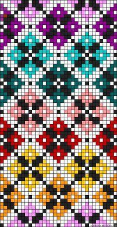 Diamonds plaid rainbow perler bead pattern by clara
