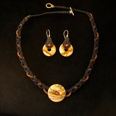 picture jasper and amber small black necklace and earring set | indivijewels - Jewelry on ArtFire