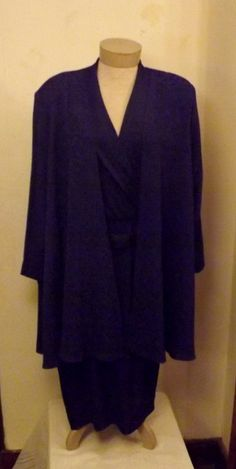 70s Royal Purple Evening Dress with Shawl Size 14 by Toni Todd